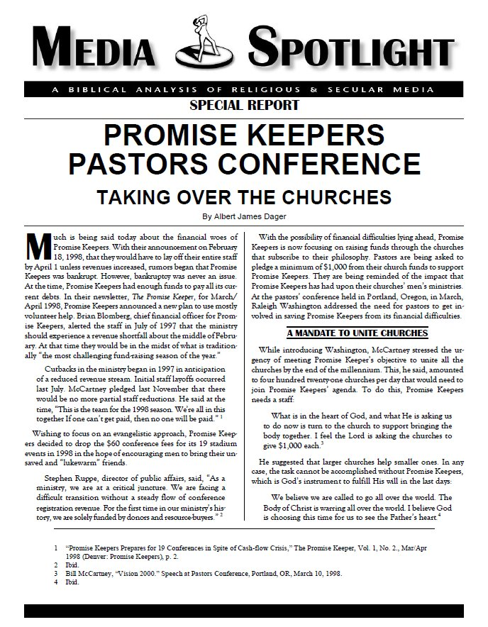 a review on the article entitled invasion of the promise keepers Then he says that promise keepers asserts that men, by walking away from their family duties, are responsible for much of america's social dysfunction, which the group's leaders say includes high school dropouts, a soaring crime rate, racism, divorce, homosexuality and abortion.